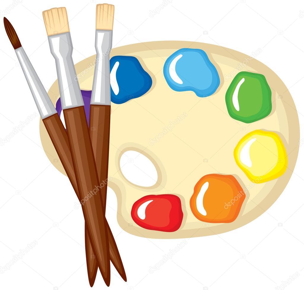 Pinturas pinceles y paleta de pinturas vector de stock - Paleta de pinturas ...