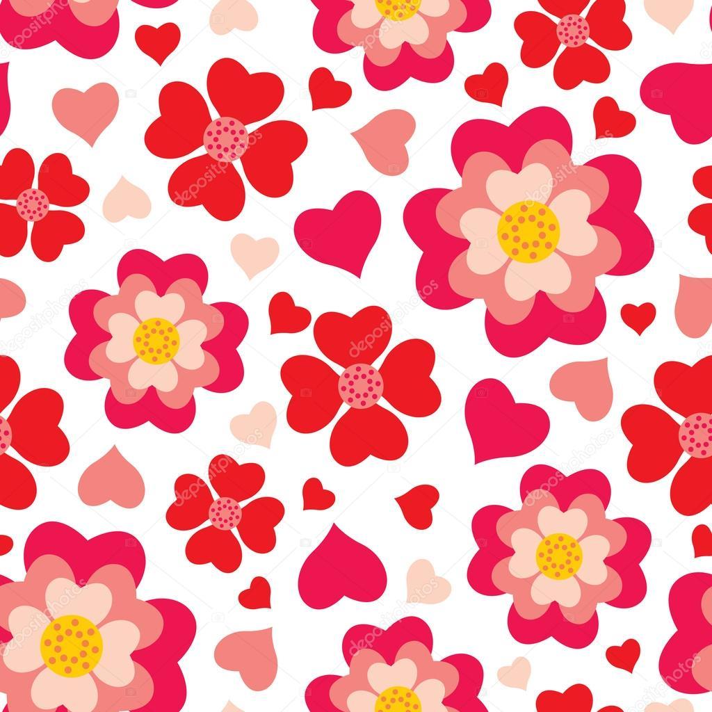 Heart flowers seamless pattern
