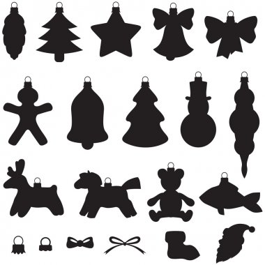 Silhouette of baubles set