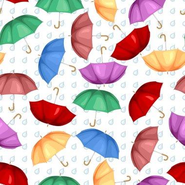 Multicolor umbrellas pattern seamless