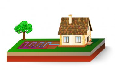 Diagram of a house receiving geothermal energy. Heat pump or Cooling System clip art vector