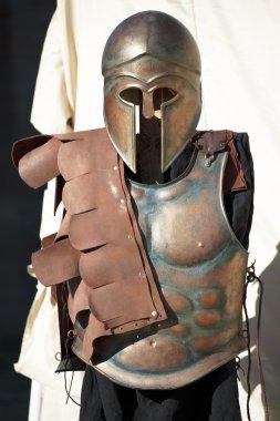 Helmet and breastplate of a Spartan Corinthian Soldier uniform stock vector