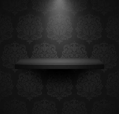 Dark empty isolated shelf on beautiful black luxury background.