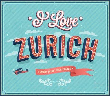 Vintage greeting card from Zurich - Switzerland.