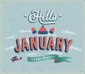 Hello január tipográfiai tervezés.