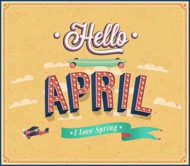 Hello april typographic design.