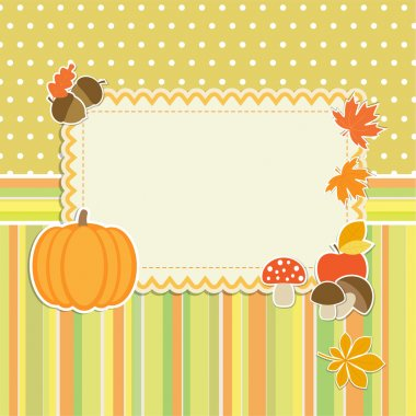Autumn frame with pumpkin