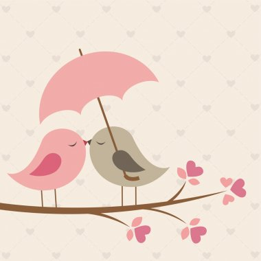 Birds under umbrella. Romantic vector card clip art vector