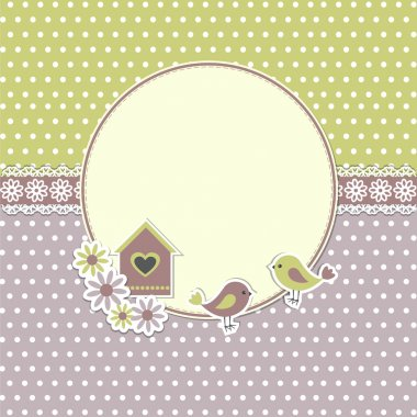 Round retro frame with birds and birdhouse