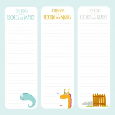 Elements for notebook with animals