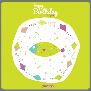 Happy birthday card with flying snakes and animals.