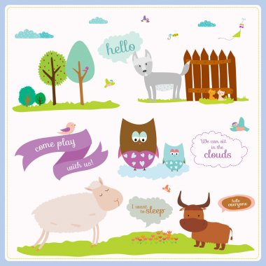 Bright background with nice and funny animals and children