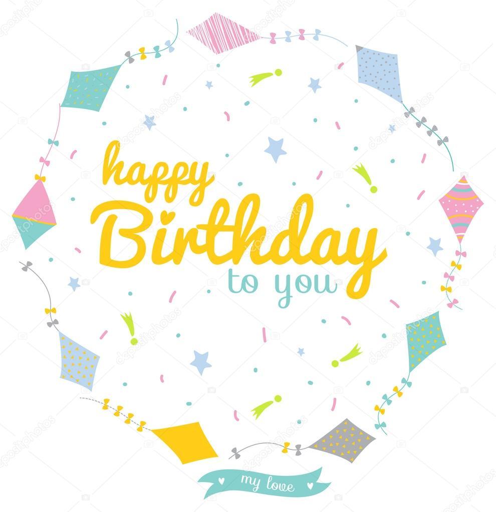Tarjeta Del Feliz Cumpleaños Para El Bebé Archivo Imágenes