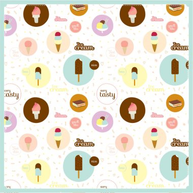 Food seamless pattern with dessert icons