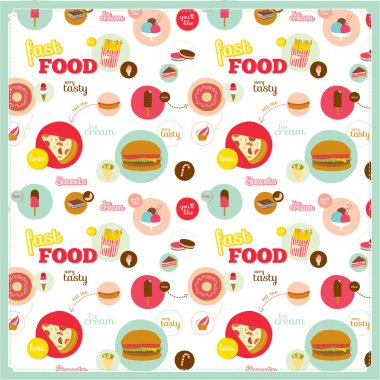 Food pattern with fast food icons in circles