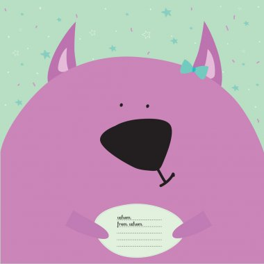 Greeting card with cartoon and funny animals with place text