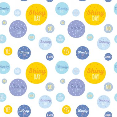 Unusual seamless childish pattern with cartoon and funny smiley weather icons. illustration in cute style. Can be used like happy birthday cards. Sunny, cloudy, rainy, snowy, windy. clip art vector