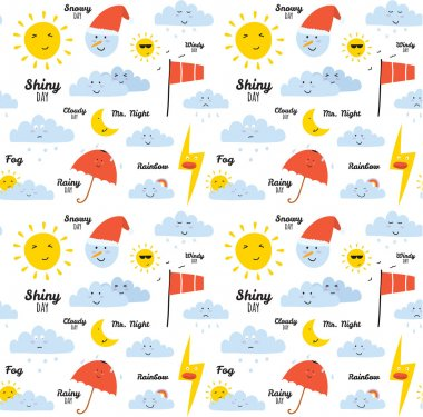 Unusual seamless childish pattern with cartoon and funny smiley weather icon