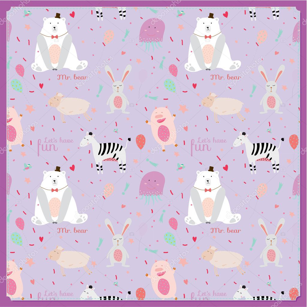 Cute childish pattern with cartoon animals, speech bubbles and