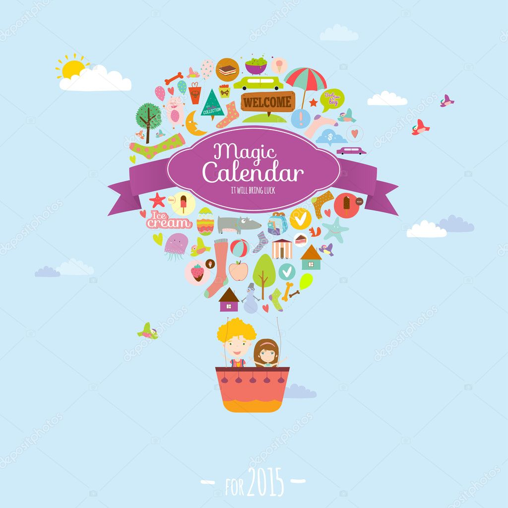 Unusual calendar for 2015 with cartoon and funny animals and kids with place text.