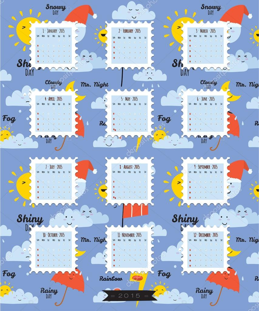 unusual calendar for 2015 u2014 stock vector one7thlifetime 50835295