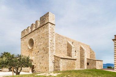 Sant Marti Empuries church, Costa Brava. stock vector