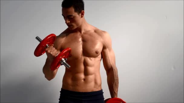 Young handsome male bodybuilder training biceps with dumbbells