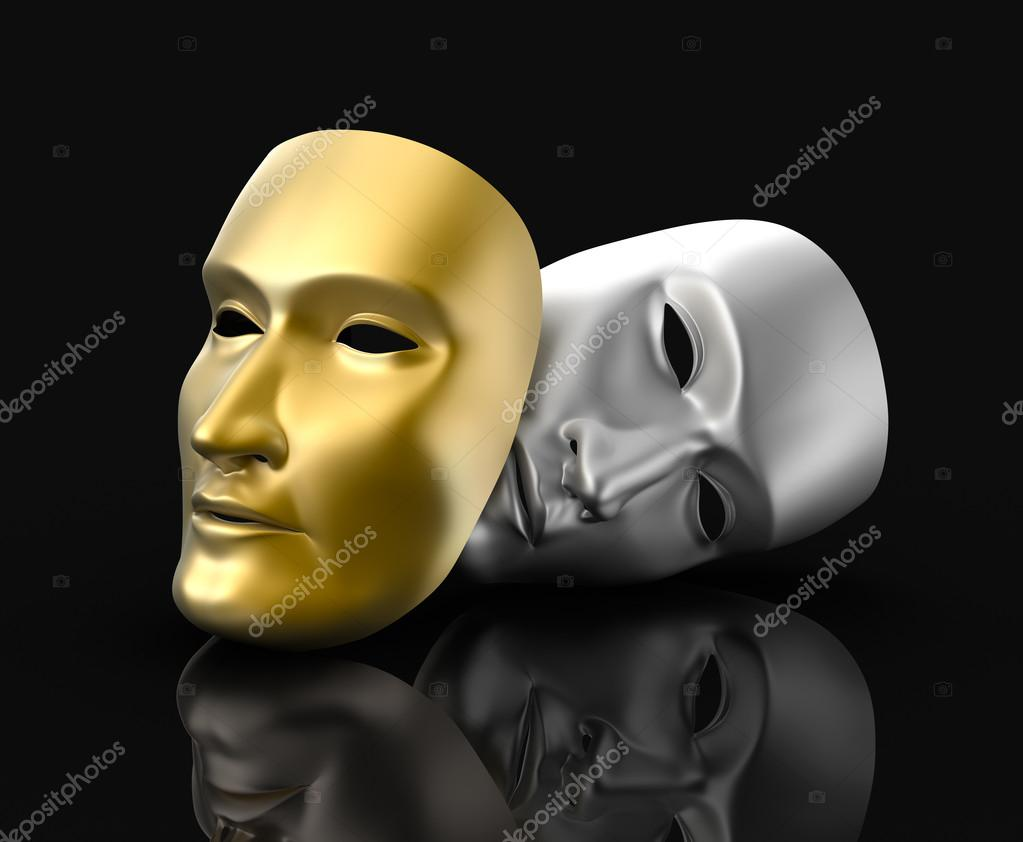 Theater masks concept. On black background.
