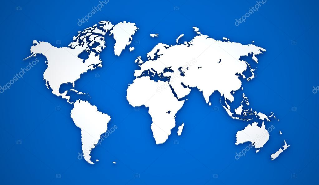 World map white continents on blue background stock photo world map white continents on blue background stock photo gumiabroncs Image collections