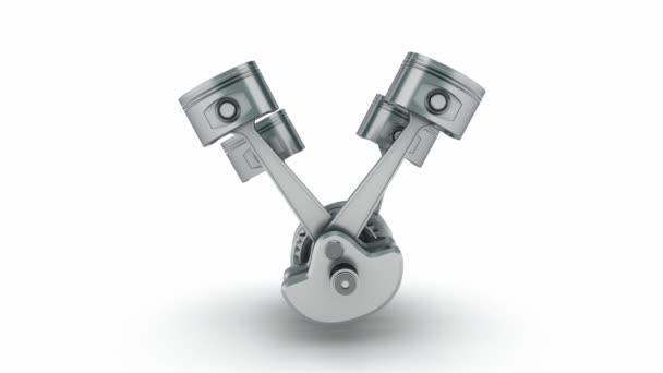 V4 engine pistons. 3D image.