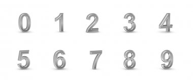 3D chrome numbers set.
