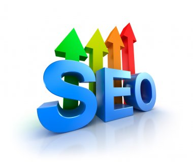 SEO word with upcoming arrows