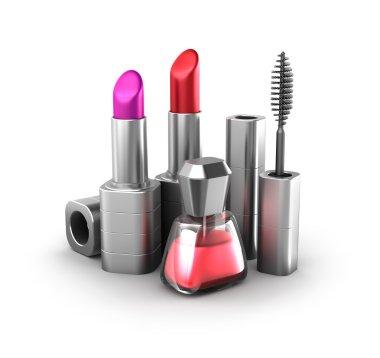 Beauty products: lipstick, nail polish and mascara