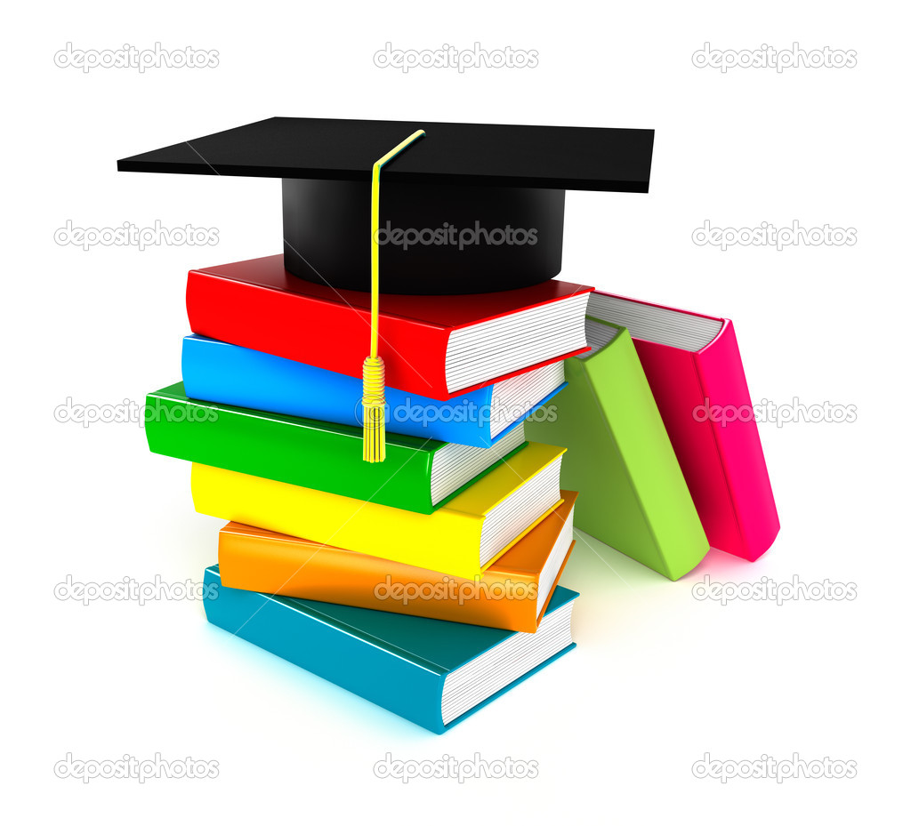 libros coloridos y gorro de graduación, aislar en blanco — Fotos de ...