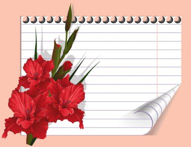 Red gladiolus and a writing-book