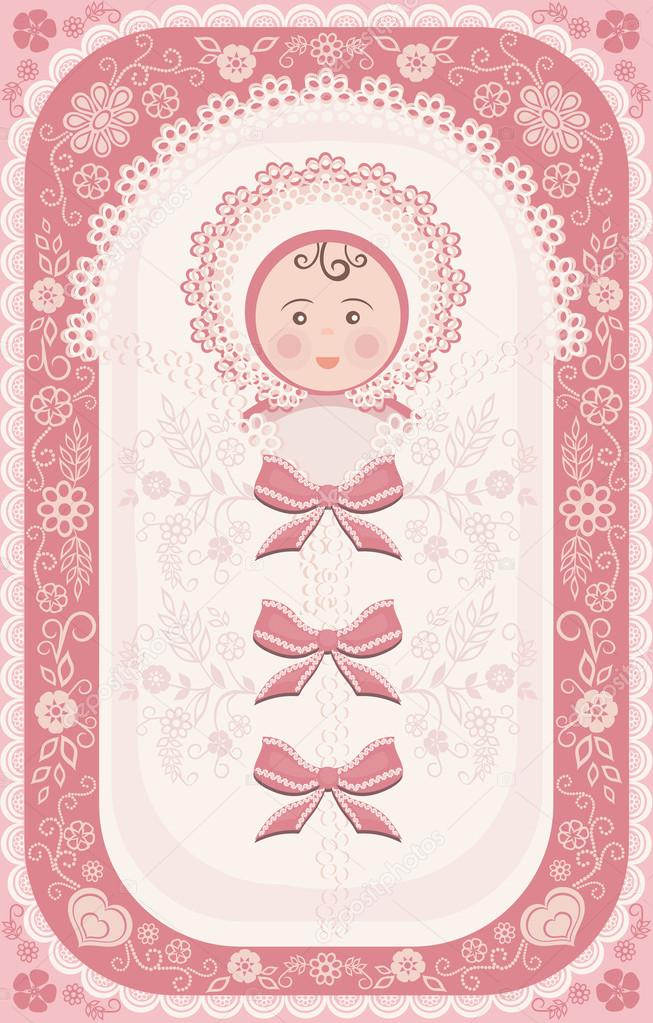 gratulationer till nyfödd dotter nyfödd flicka — Stock Vektor © Olgart #15009241 gratulationer till nyfödd dotter