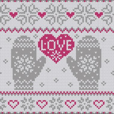 Knitted heart LOVE and mittens