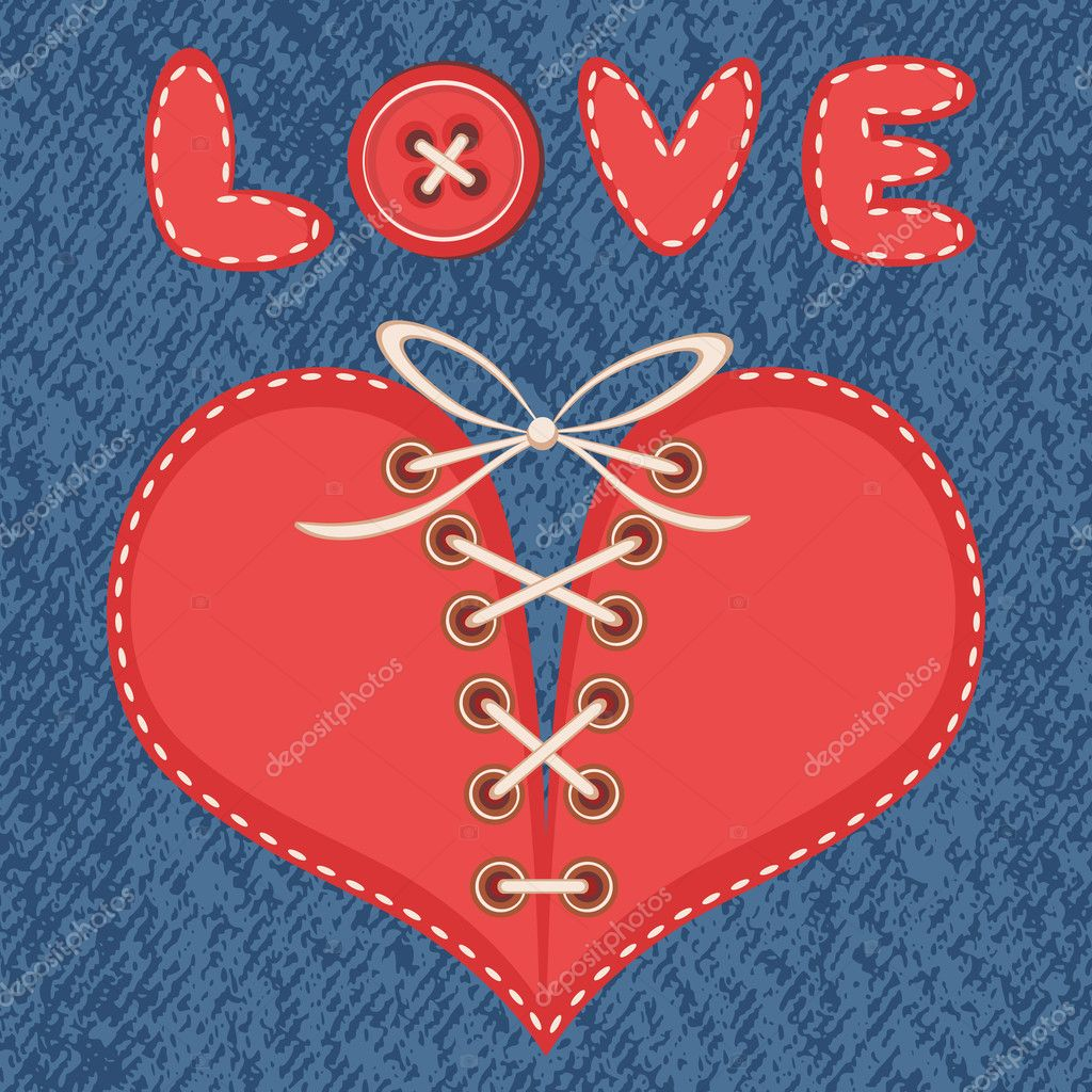 Creative vector illustration. Text LOVE and laced heart on a denim background. clipart vector