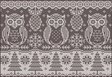 Knitted pattern with owls