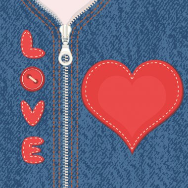 Element of clothes with zipper and heart