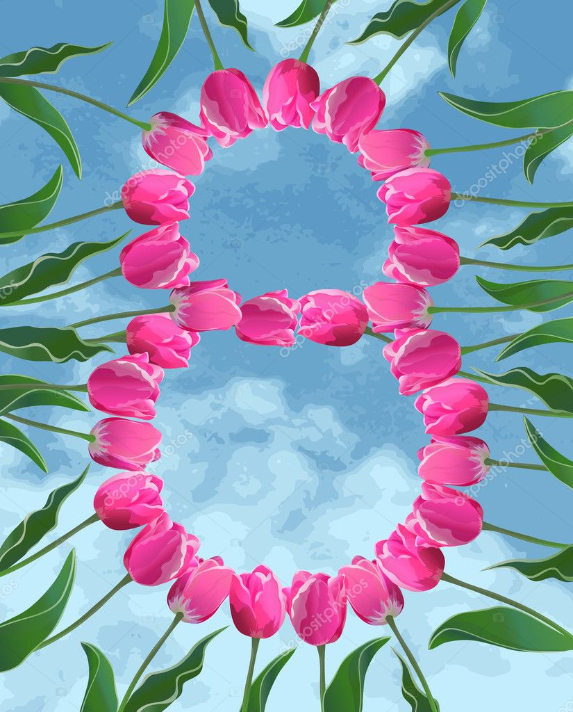 Womens Day card with tulips and sky