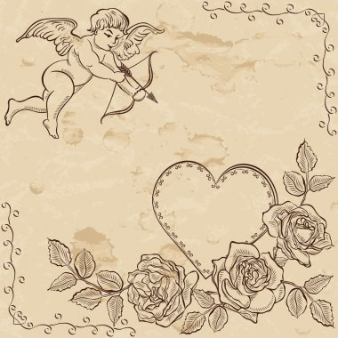 Vintage paper with lovely cupid