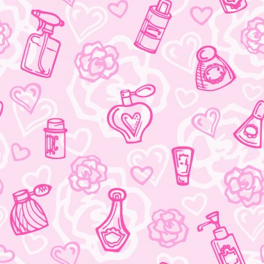 Seamless pattern with perfume bottles