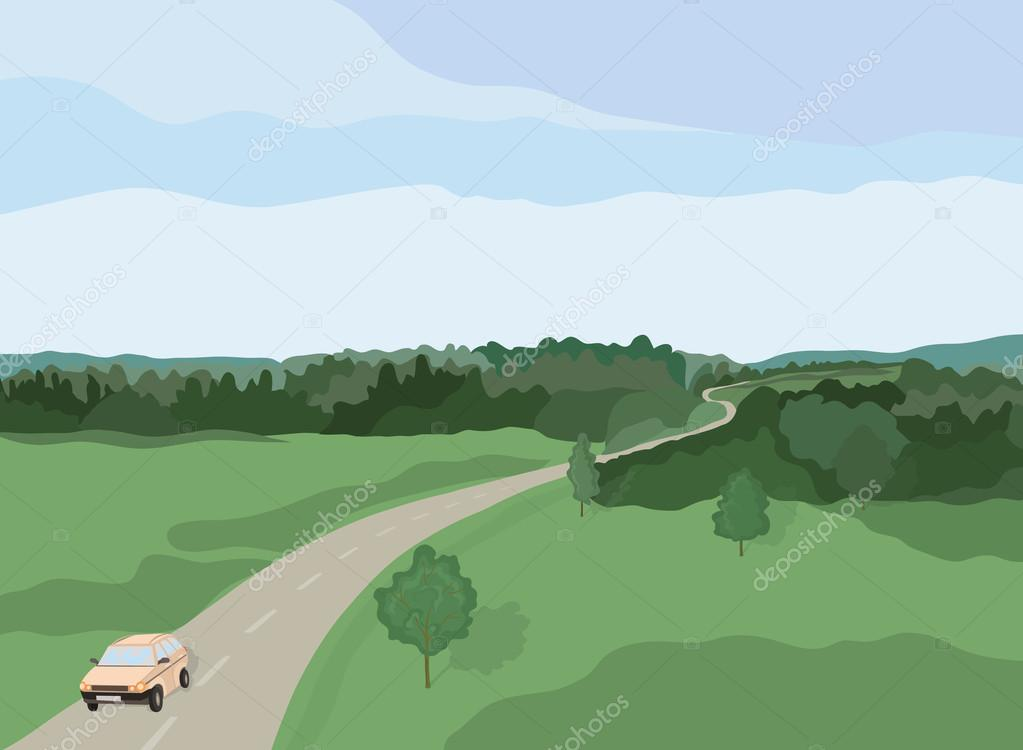 Landscape with road and car