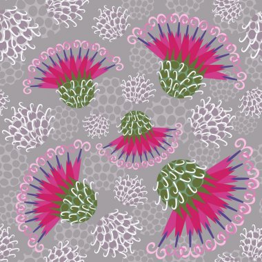 Seamless pattern with burdock