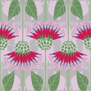 Seamless pattern with decorative burdoc