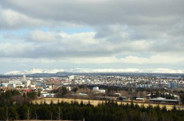 Aerial view of Reykjavik, capital of Iceland from the top of the Hallgrimskirkja church