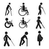 Fotografie Set Symbol Symbol Rollstuhl Notebook schwanger blind Krücke Schilder rollstuhlgängig