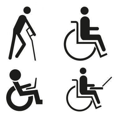 Set icon symbol wheelchair notebook wheelchair Accessibilit blind crutch sign handicapped accessible