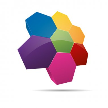3D hexagon honeycomb strategy group diagram abstraction corporate logo design icon sign